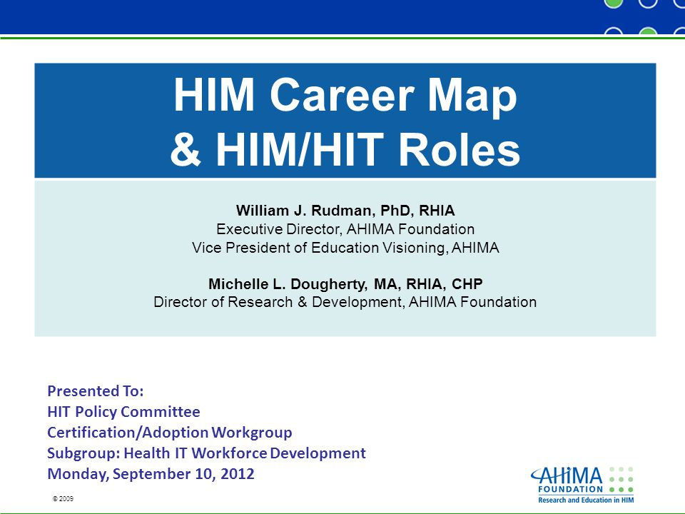 © 2009 HIM Career Map & HIM/HIT Roles William J.