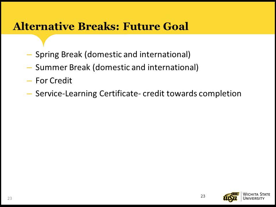 23 Alternative Breaks: Future Goal – Spring Break (domestic and international) – Summer Break (domestic and international) – For Credit – Service-Learning Certificate- credit towards completion 23