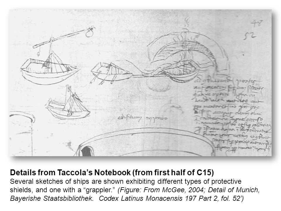 Details from Taccola's Notebook (from first half of C15) Several sketches of ships are shown exhibiting different types of protective shields, and one