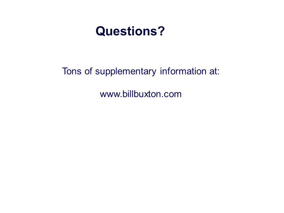 Questions? Tons of supplementary information at: www.billbuxton.com