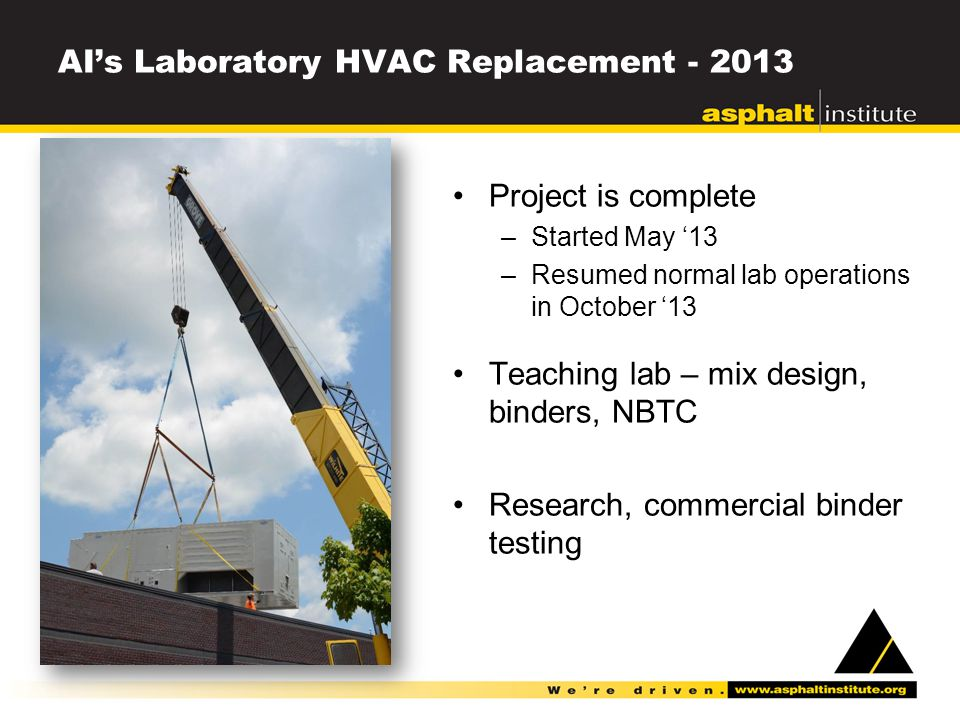 AI's Laboratory HVAC Replacement - 2013 Project is complete –Started May '13 –Resumed normal lab operations in October '13 Teaching lab – mix design, binders, NBTC Research, commercial binder testing