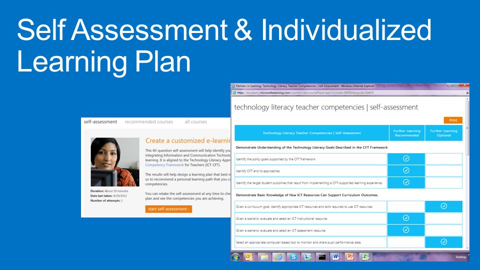 Self Assessment & Individualized Learning Plan