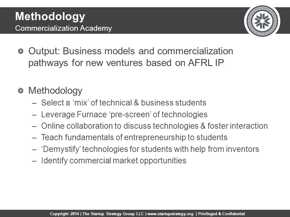 Copyright 2014 | The Startup Strategy Group LLC | www.startupstrategy.org | Privileged & Confidential Methodology Output: Business models and commercialization pathways for new ventures based on AFRL IP Methodology –Select a 'mix' of technical & business students –Leverage Furnace 'pre-screen' of technologies –Online collaboration to discuss technologies & foster interaction –Teach fundamentals of entrepreneurship to students –'Demystify' technologies for students with help from inventors –Identify commercial market opportunities Commercialization Academy