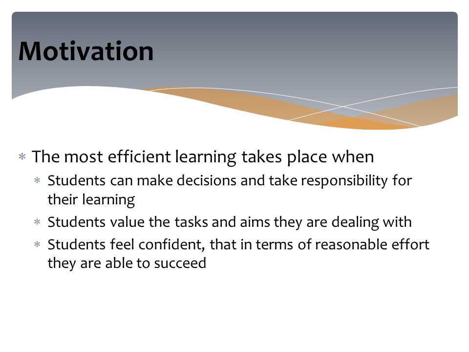  The most efficient learning takes place when  Students can make decisions and take responsibility for their learning  Students value the tasks and aims they are dealing with  Students feel confident, that in terms of reasonable effort they are able to succeed Motivation