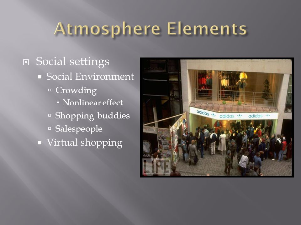  Social settings  Social Environment  Crowding  Nonlinear effect  Shopping buddies  Salespeople  Virtual shopping