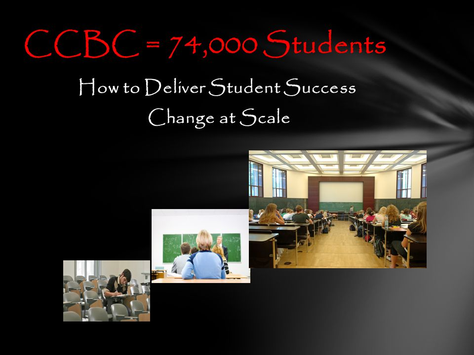 How to Deliver Student Success Change at Scale CCBC = 74,000 Students