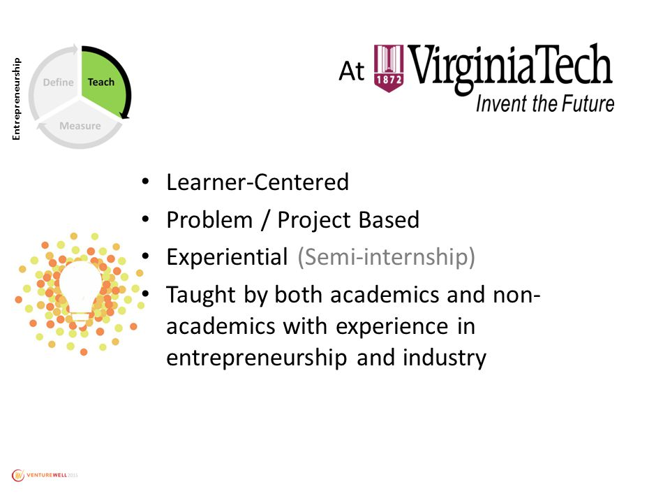 Entrepreneurship Learner-Centered Problem / Project Based Experiential (Semi-internship) Taught by both academics and non- academics with experience in entrepreneurship and industry At