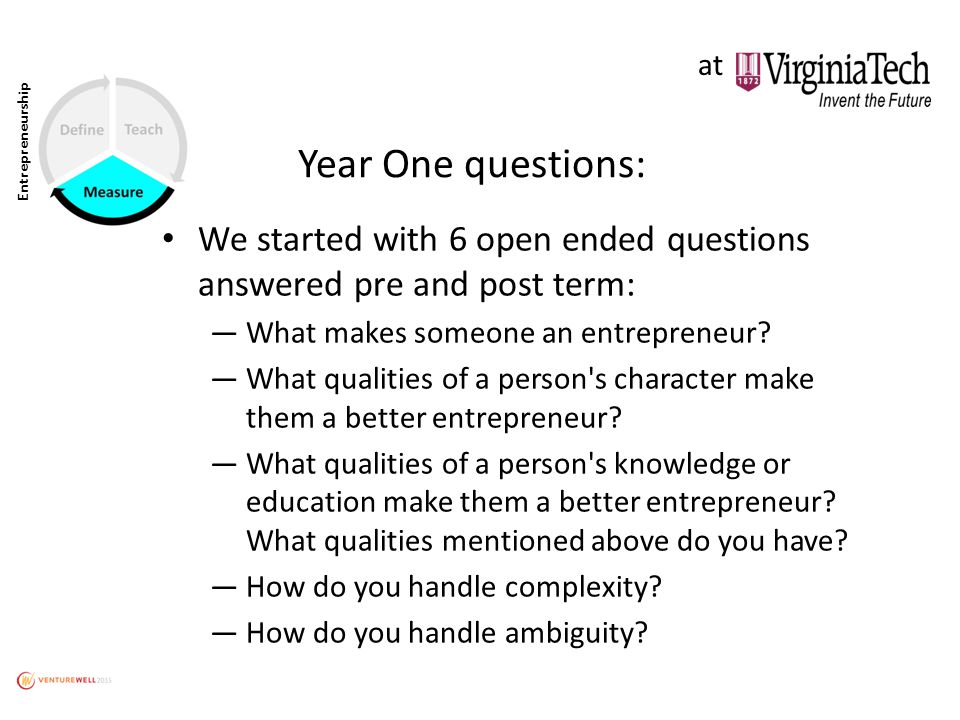 Year One questions: We started with 6 open ended questions answered pre and post term: ―What makes someone an entrepreneur.