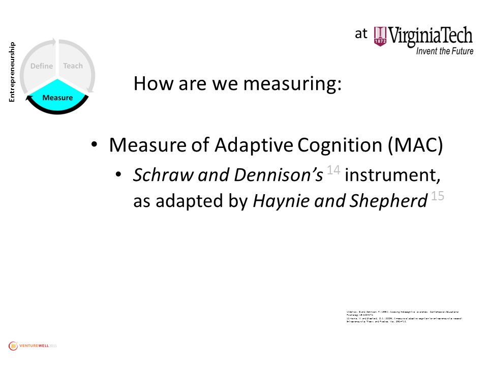 Entrepreneurship How are we measuring: Measure of Adaptive Cognition (MAC) Schraw and Dennison's 14 instrument, as adapted by Haynie and Shepherd 15 14Schraw, G.