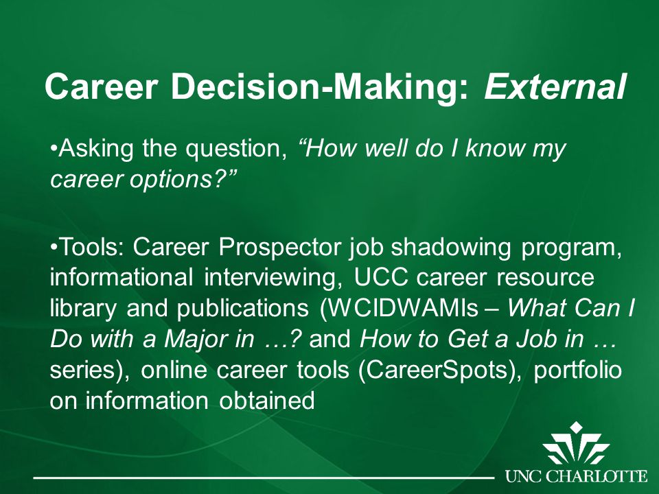 Career Decision-Making: External Asking the question, How well do I know my career options Tools: Career Prospector job shadowing program, informational interviewing, UCC career resource library and publications (WCIDWAMIs – What Can I Do with a Major in ….