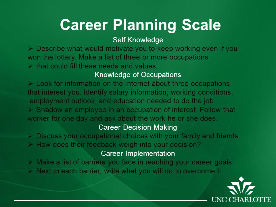 Career Planning Scale Self Knowledge  Describe what would motivate you to keep working even if you won the lottery.