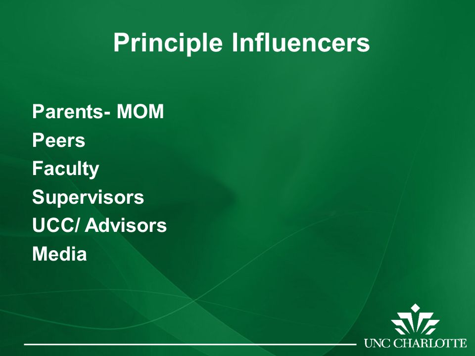 Principle Influencers Parents- MOM Peers Faculty Supervisors UCC/ Advisors Media