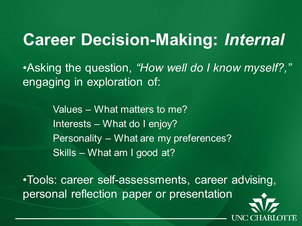 Career Decision-Making: Internal Asking the question, How well do I know myself , engaging in exploration of: Values – What matters to me.