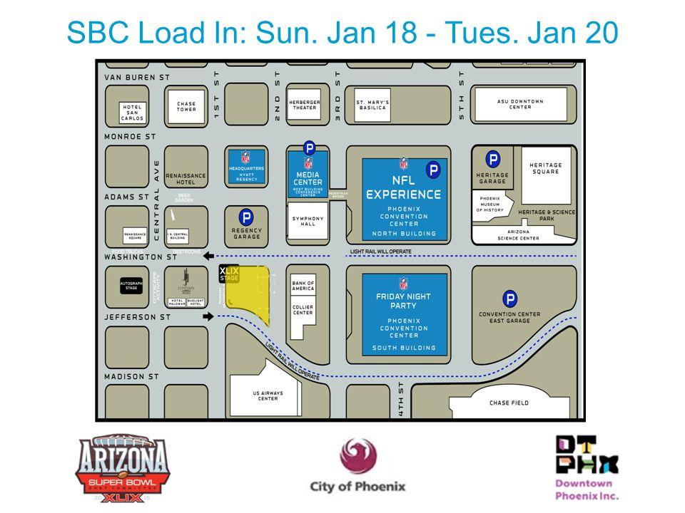 SBC Load In: Sun. Jan 18 - Tues. Jan 20 19