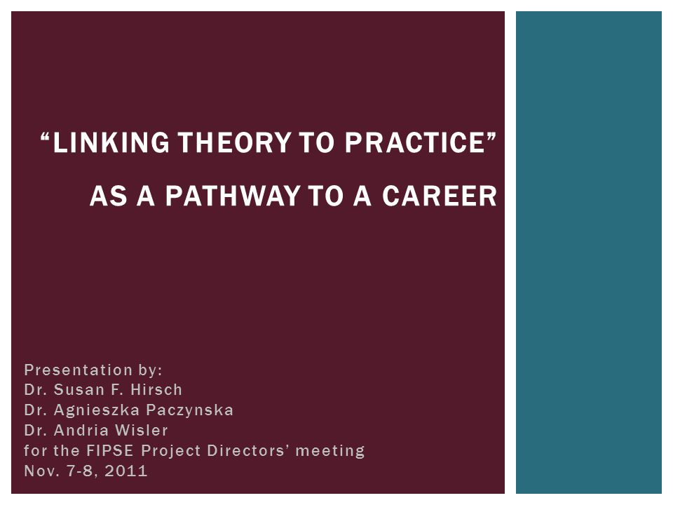 "Presentation by: Dr. Susan F. Hirsch Dr. Agnieszka Paczynska Dr. Andria Wisler for the FIPSE Project Directors' meeting Nov. 7-8, 2011 ""LINKING THEORY"