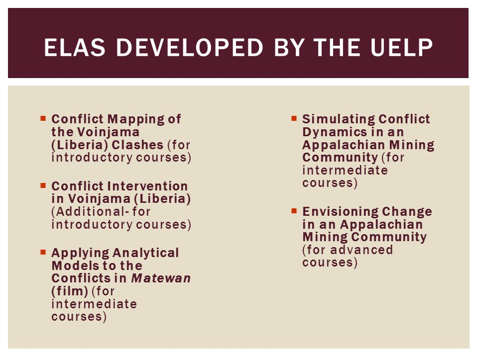  Conflict Mapping of the Voinjama (Liberia) Clashes (for introductory courses)  Conflict Intervention in Voinjama (Liberia) (Additional- for introdu