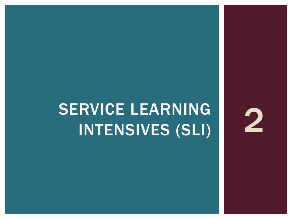 2 SERVICE LEARNING INTENSIVES (SLI)