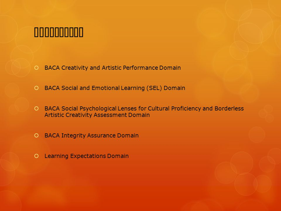 Resolution  BACA Creativity and Artistic Performance Domain  BACA Social and Emotional Learning (SEL) Domain  BACA Social Psychological Lenses for