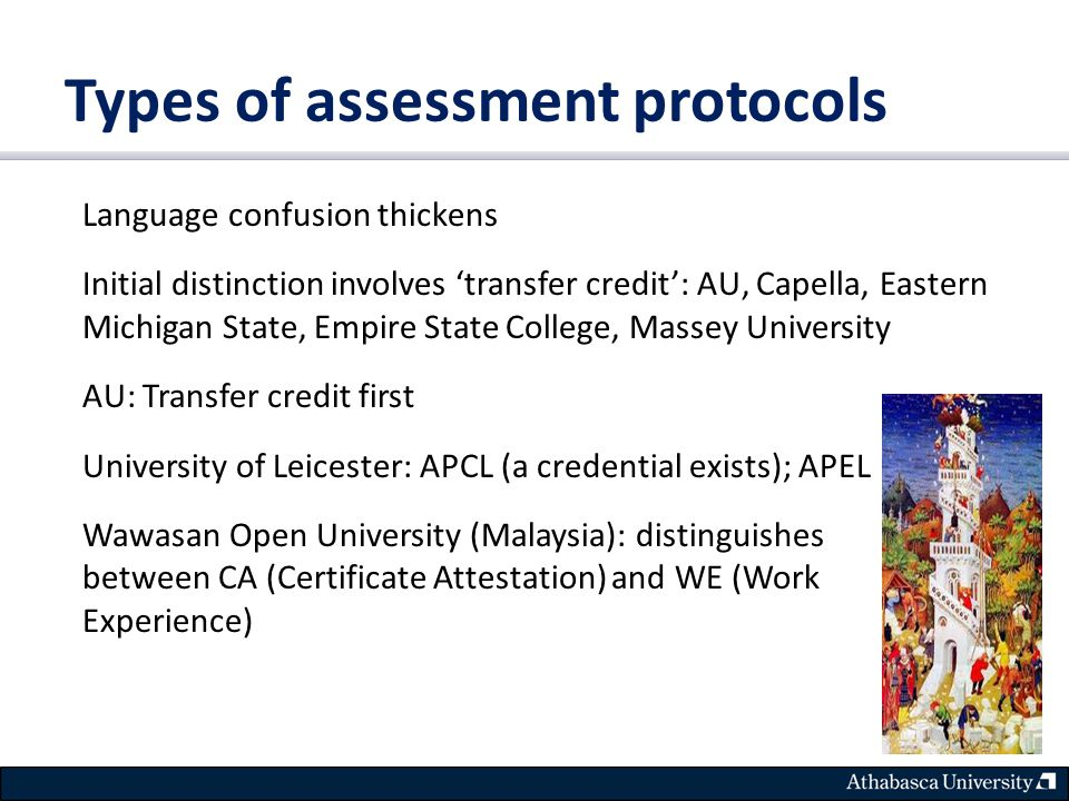 Types of assessment protocols Language confusion thickens Initial distinction involves 'transfer credit': AU, Capella, Eastern Michigan State, Empire State College, Massey University AU: Transfer credit first University of Leicester: APCL (a credential exists); APEL Wawasan Open University (Malaysia): distinguishes between CA (Certificate Attestation) and WE (Work Experience)