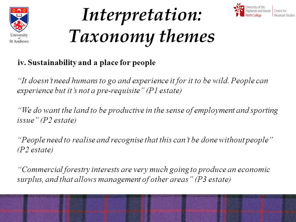 "Interpretation: Taxonomy themes iv. Sustainability and a place for people ""It doesn't need humans to go and experience it for it to be wild. People ca"