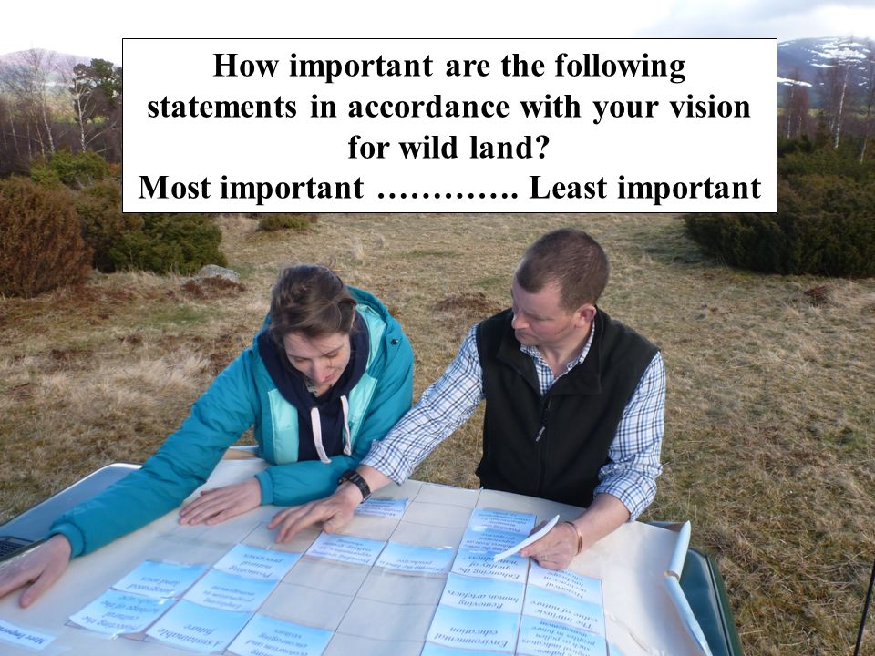 How important are the following statements in accordance with your vision for wild land? Most important …………. Least important