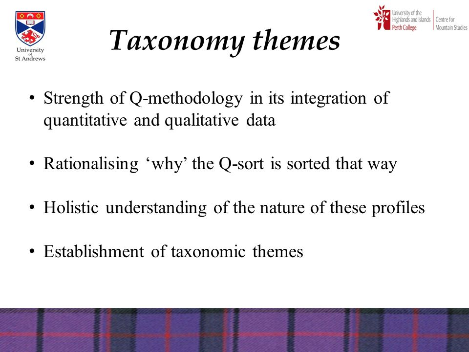 Taxonomy themes Strength of Q-methodology in its integration of quantitative and qualitative data Rationalising 'why' the Q-sort is sorted that way Ho