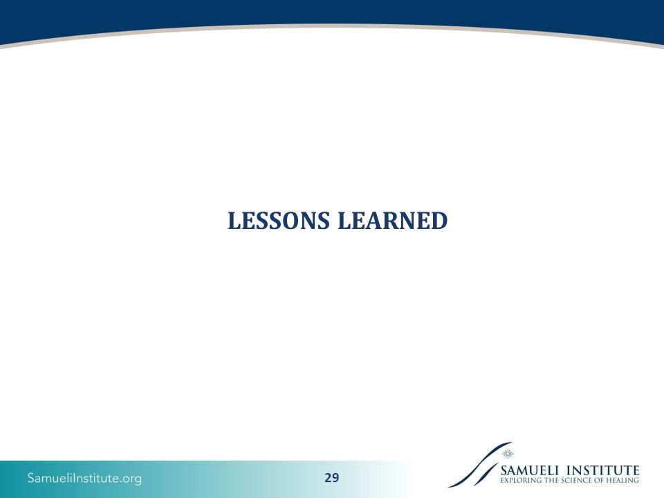29 LESSONS LEARNED
