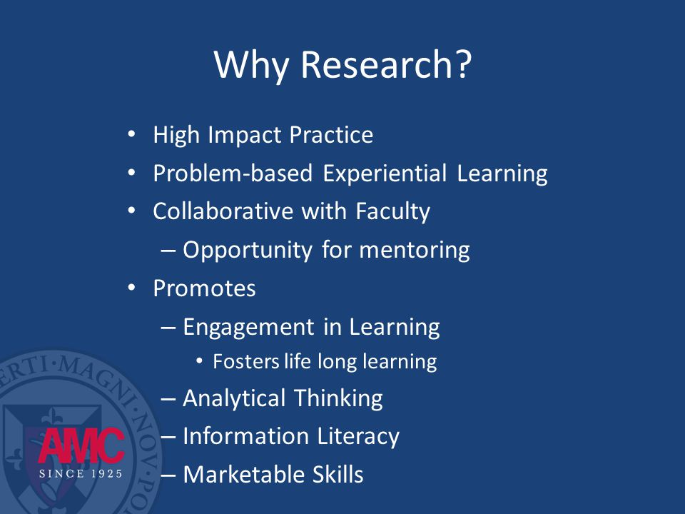 Aims of the FCSR 1.Identify AMC faculty with specific research interests who would participate in the program.
