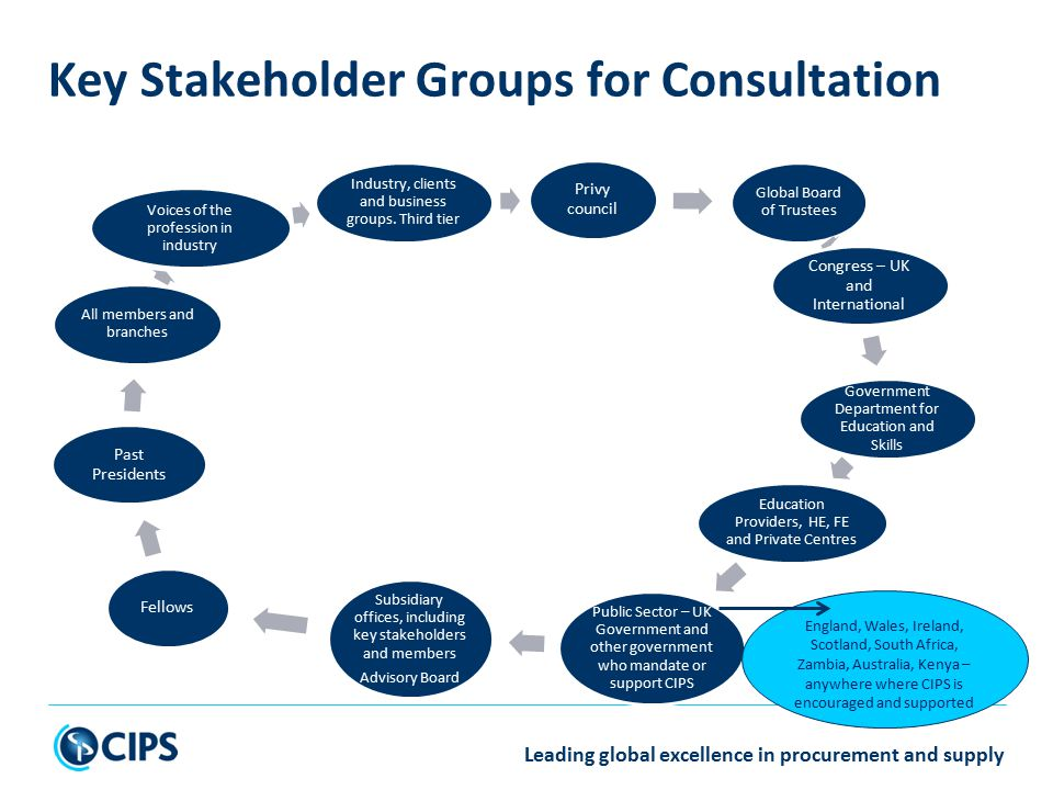 Privy council Global Board of Trustees Congress – UK and International Government Department for Education and Skills Education Providers, HE, FE and Private Centres Public Sector – UK Government and other government who mandate or support CIPS Subsidiary offices, including key stakeholders and members Advisory Board Fellows Past Presidents All members and branches Voices of the profession in industry Industry, clients and business groups.