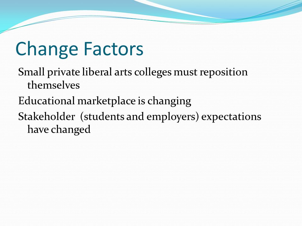 Change Factors Small private liberal arts colleges must reposition themselves Educational marketplace is changing Stakeholder (students and employers)