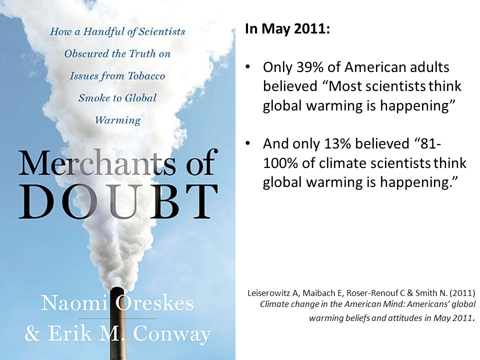 In May 2011: Only 39% of American adults believed Most scientists think global warming is happening And only 13% believed 81- 100% of climate scientists think global warming is happening. Leiserowitz A, Maibach E, Roser-Renouf C & Smith N.
