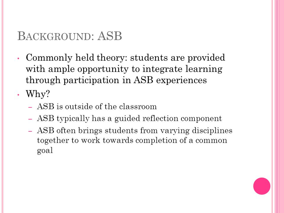 B ACKGROUND : ASB Commonly held theory: students are provided with ample opportunity to integrate learning through participation in ASB experiences Why.