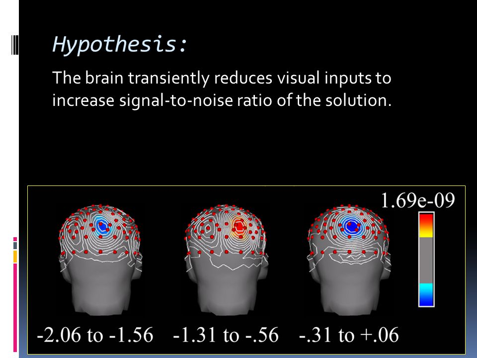 Hypothesis: The brain transiently reduces visual inputs to increase signal-to-noise ratio of the solution.