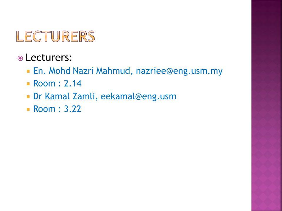  Lecturers:  En. Mohd Nazri Mahmud, nazriee@eng.usm.my  Room : 2.14  Dr Kamal Zamli, eekamal@eng.usm  Room : 3.22