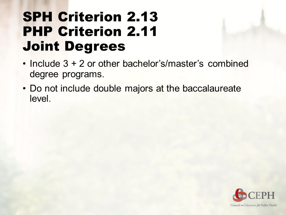 SPH Criterion 2.13 PHP Criterion 2.11 Joint Degrees Include or other bachelor's/master's combined degree programs.