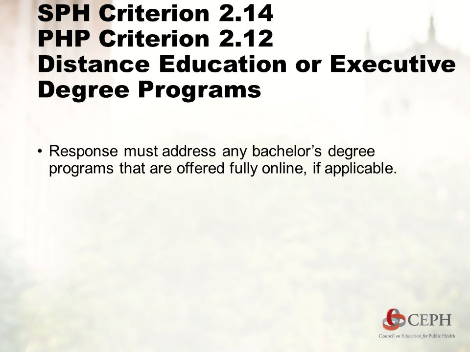 SPH Criterion 2.14 PHP Criterion 2.12 Distance Education or Executive Degree Programs Response must address any bachelor's degree programs that are offered fully online, if applicable.