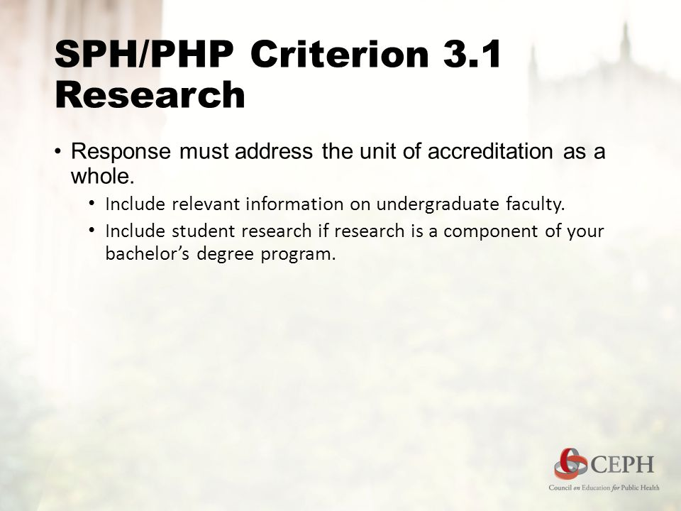 SPH/PHP Criterion 3.1 Research Response must address the unit of accreditation as a whole.