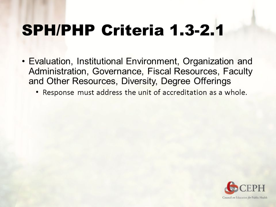 SPH/PHP Criteria Evaluation, Institutional Environment, Organization and Administration, Governance, Fiscal Resources, Faculty and Other Resources, Diversity, Degree Offerings Response must address the unit of accreditation as a whole.