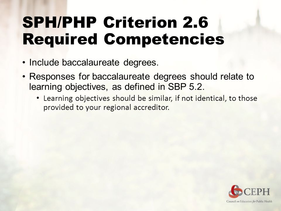 SPH/PHP Criterion 2.6 Required Competencies Include baccalaureate degrees.