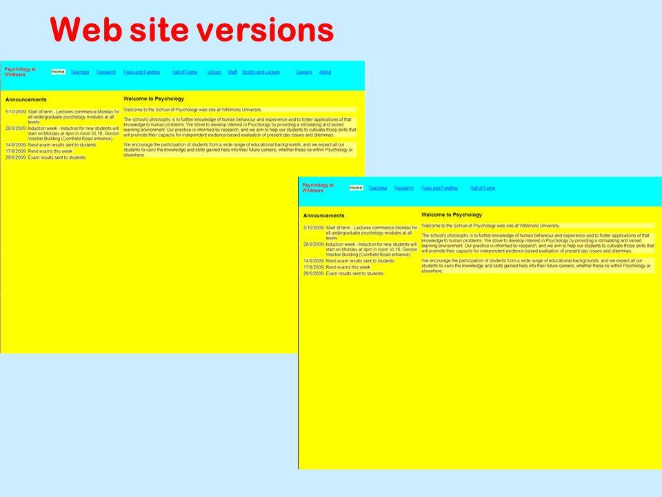 Web site versions