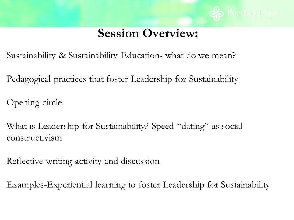 Session Overview: Sustainability & Sustainability Education- what do we mean.