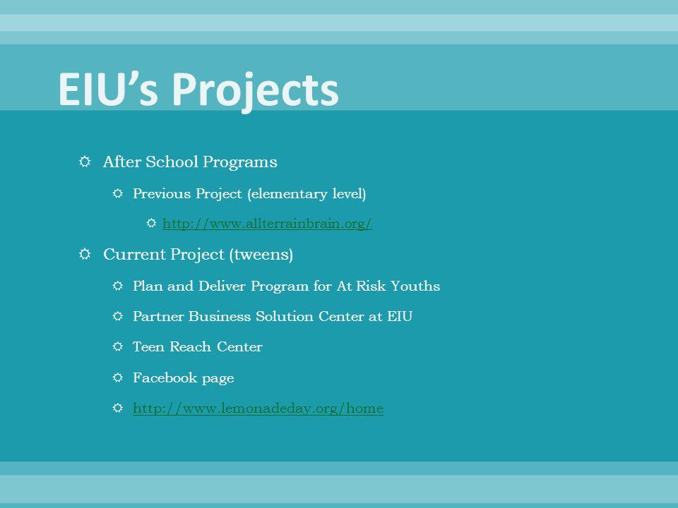  After School Programs  Previous Project (elementary level)  http://www.allterrainbrain.org/ http://www.allterrainbrain.org/  Current Project (twe