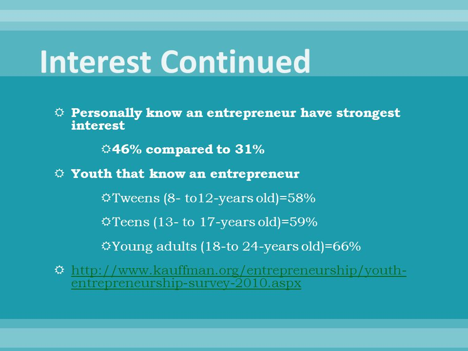 Personally know an entrepreneur have strongest interest  46% compared to 31%  Youth that know an entrepreneur  Tweens (8- to12-years old)=58%  T