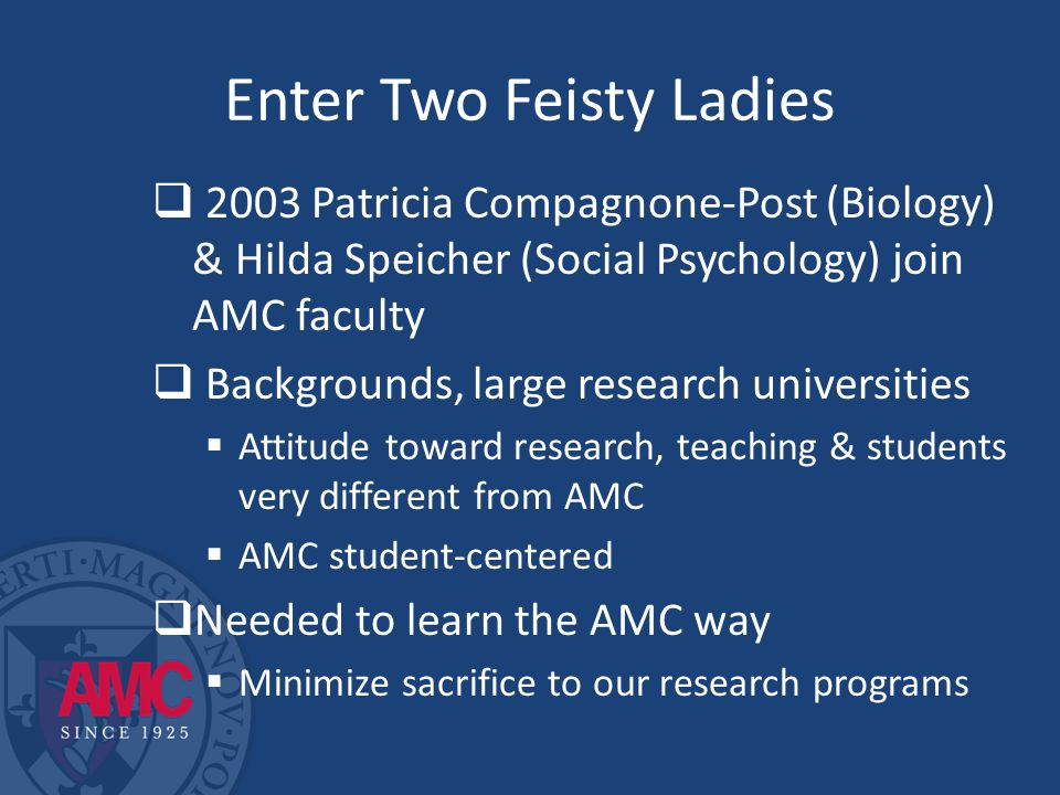 Enter Two Feisty Ladies  2003 Patricia Compagnone-Post (Biology) & Hilda Speicher (Social Psychology) join AMC faculty  Backgrounds, large research universities  Attitude toward research, teaching & students very different from AMC  AMC student-centered  Needed to learn the AMC way  Minimize sacrifice to our research programs