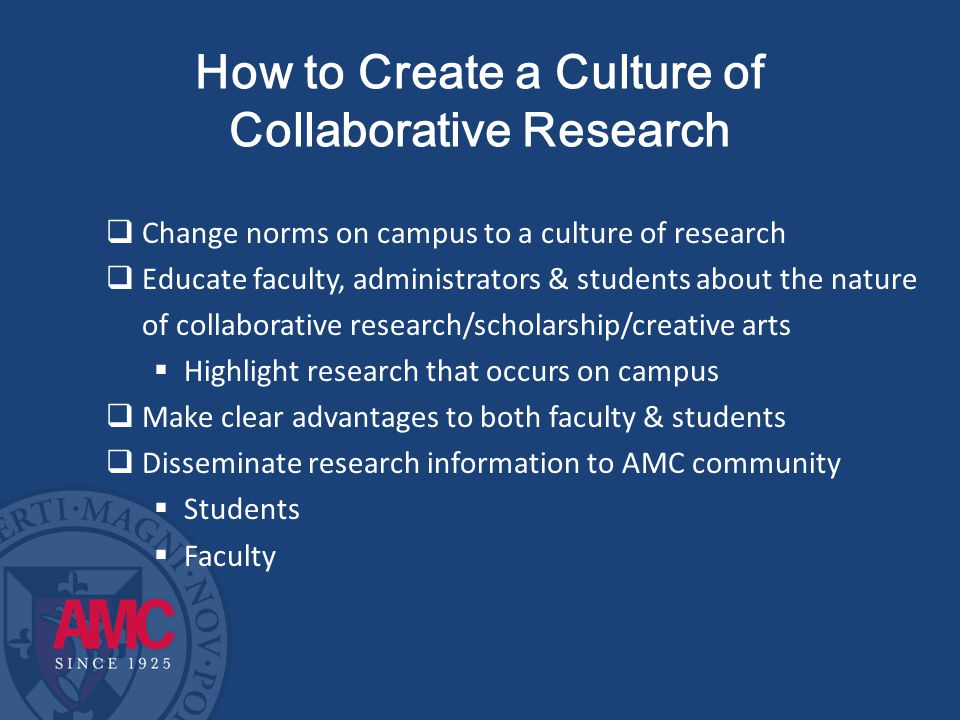 How to Create a Culture of Collaborative Research  Change norms on campus to a culture of research  Educate faculty, administrators & students about the nature of collaborative research/scholarship/creative arts  Highlight research that occurs on campus  Make clear advantages to both faculty & students  Disseminate research information to AMC community  Students  Faculty