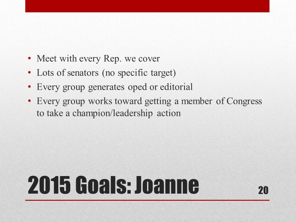2015 Goals: Joanne Meet with every Rep.
