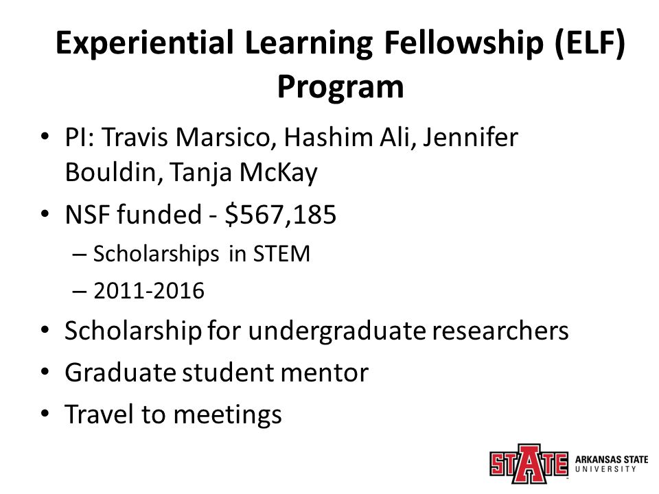 Experiential Learning Fellowship (ELF) Program PI: Travis Marsico, Hashim Ali, Jennifer Bouldin, Tanja McKay NSF funded - $567,185 – Scholarships in STEM – 2011-2016 Scholarship for undergraduate researchers Graduate student mentor Travel to meetings