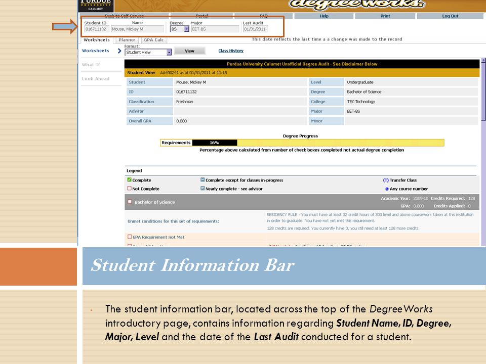 The student information bar, located across the top of the DegreeWorks introductory page, contains information regarding Student Name, ID, Degree, Major, Level and the date of the Last Audit conducted for a student.
