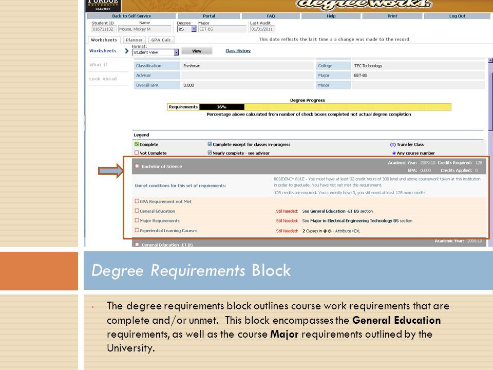 The degree requirements block outlines course work requirements that are complete and/or unmet.