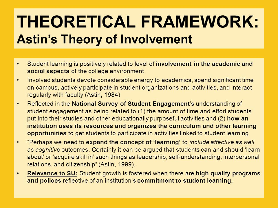 THEORETICAL FRAMEWORK: Astin's Theory of Involvement Student learning is positively related to level of involvement in the academic and social aspects of the college environment Involved students devote considerable energy to academics, spend significant time on campus, actively participate in student organizations and activities, and interact regularly with faculty (Astin, 1984) Reflected in the National Survey of Student Engagement's understanding of student engagement as being related to (1) the amount of time and effort students put into their studies and other educationally purposeful activities and (2) how an institution uses its resources and organizes the curriculum and other learning opportunities to get students to participate in activities linked to student learning Perhaps we need to expand the concept of 'learning' to include affective as well as cognitive outcomes.